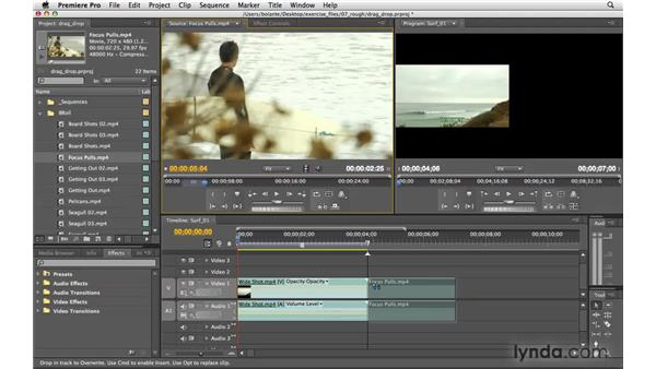 Assembling a sequence by dragging and dropping: Premiere Pro CS4 Essential Training