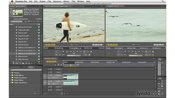 Three-point editing with monitor controls: Premiere Pro CS4 Essential Training