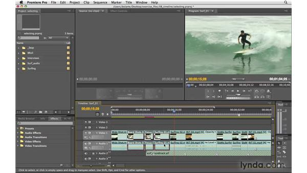 Selecting clips: Premiere Pro CS4 Essential Training