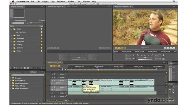 Trim edits: Premiere Pro CS4 Essential Training