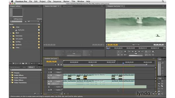 Rolling edits: Premiere Pro CS4 Essential Training