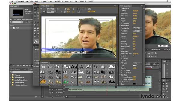 Modifying a title: Premiere Pro CS4 Essential Training
