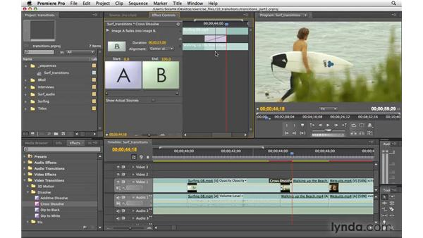 Adjusting a transition in the Effects panel: Premiere Pro CS4 Essential Training