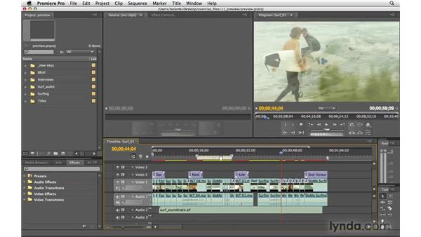 Previewing a sequence: Premiere Pro CS4 Essential Training