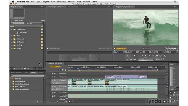 Viewing audio levels: Premiere Pro CS4 Essential Training