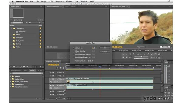 Controlling gain: Premiere Pro CS4 Essential Training