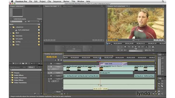 Rubber-banding clip levels: Premiere Pro CS4 Essential Training
