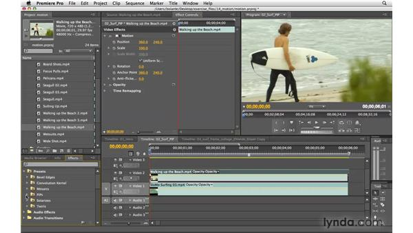 Controlling a clip's anchor point, position, scale, and rotation: Premiere Pro CS4 Essential Training