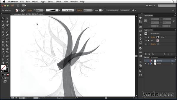 Adding body and weight to the tree: Drawing a Wedding Monogram in Illustrator