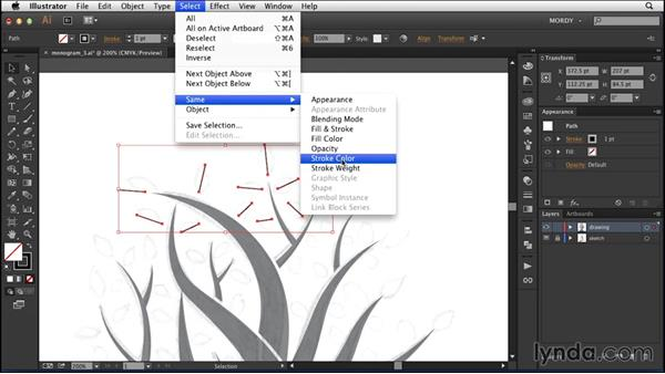 Drawing the leaves: Drawing a Wedding Monogram in Illustrator