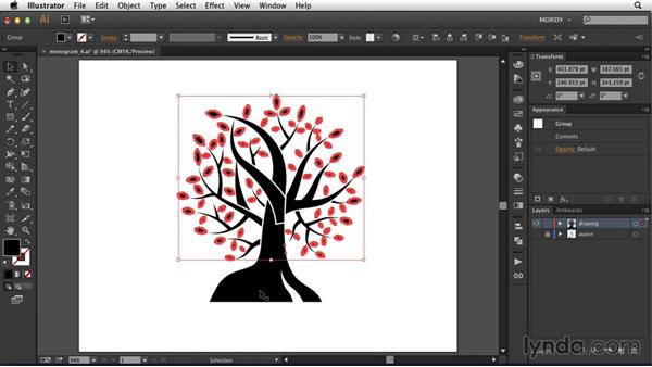 Cleaning up the file: Drawing a Wedding Monogram in Illustrator