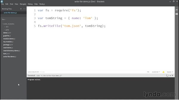 Writing to files: Up and Running with Node.js