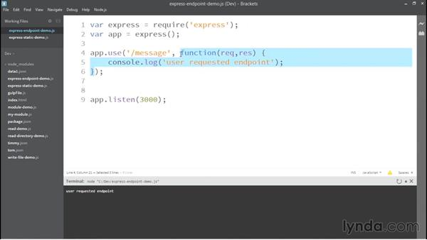 Creating an endpoint with Express: Up and Running with Node.js