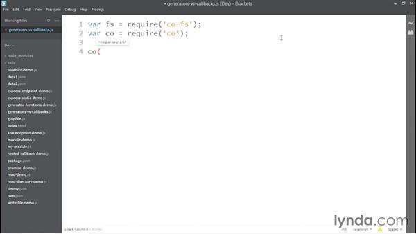 Callbacks versus generators: Up and Running with Node.js