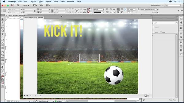 Applying and previewing basic animation presets: Creating Animations with Adobe InDesign CC