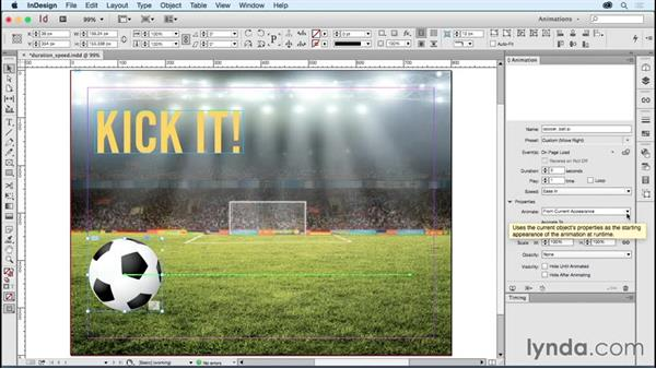 Adjusting animation preset duration and speed: Creating Animations with Adobe InDesign CC