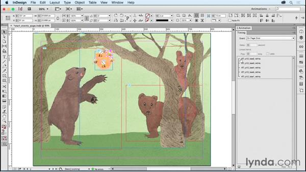 Setting page load and page click start events: Creating Animations with Adobe InDesign CC