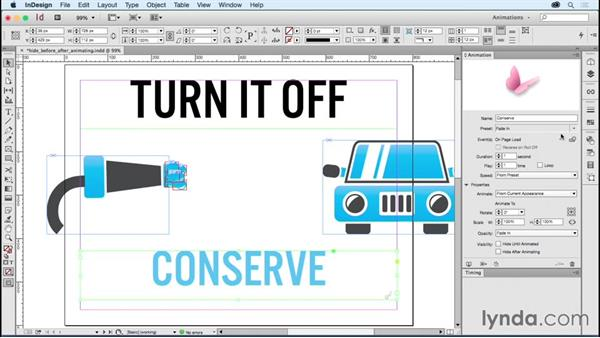 Using Hide Until Animated/Hide After Animating: Creating Animations with Adobe InDesign CC