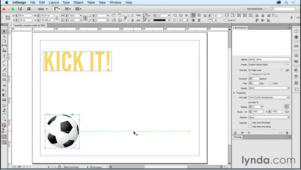 Modifying animation preset motion paths: Creating Animations with Adobe InDesign CC