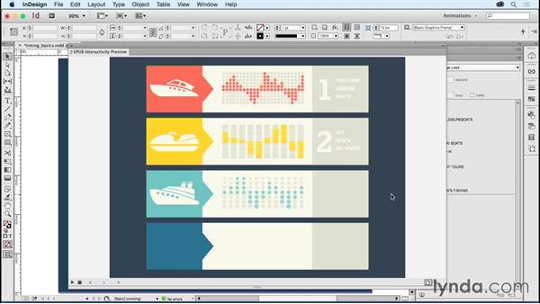 Setting timing order and linking objects timing using the Timing panel: Creating Animations with Adobe InDesign CC