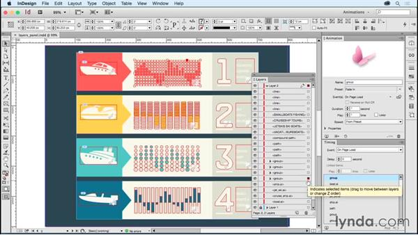 The Timing panel's best friend: The Layers panel: Creating Animations with Adobe InDesign CC