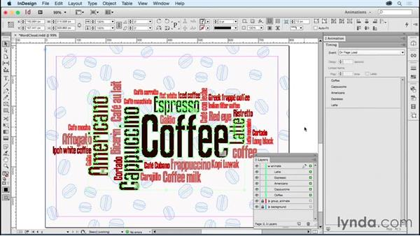 Applying animation to multiple objects on one page: Creating Animations with Adobe InDesign CC