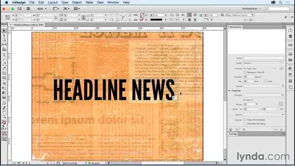 Animating type: Old movie reel headline: Creating Animations with Adobe InDesign CC