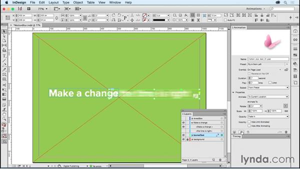 Animating type: Motion blur: Creating Animations with Adobe InDesign CC