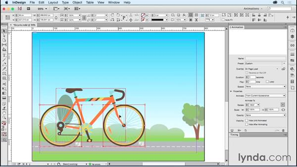 Creating a moving bicycle: Creating Animations with Adobe InDesign CC
