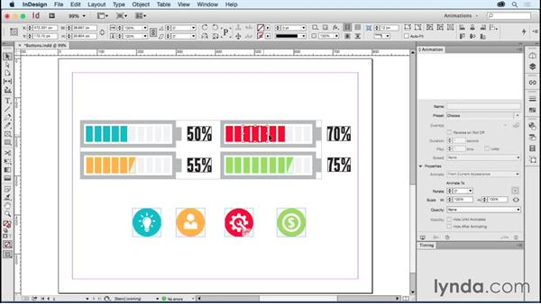 Using buttons to trigger animations: Creating Animations with Adobe InDesign CC