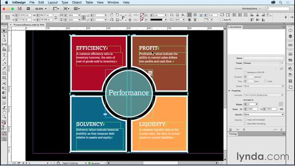 Creating animated ads: Financial ratios: Creating Animations with Adobe InDesign CC