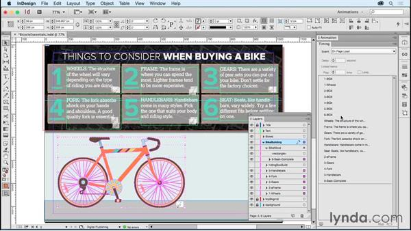 Animating an instructional page: Bicycle essentials: Creating Animations with Adobe InDesign CC