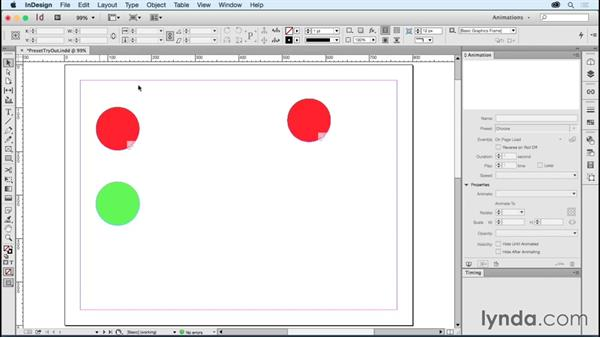 Customizing animations via Snippets: Creating Animations with Adobe InDesign CC