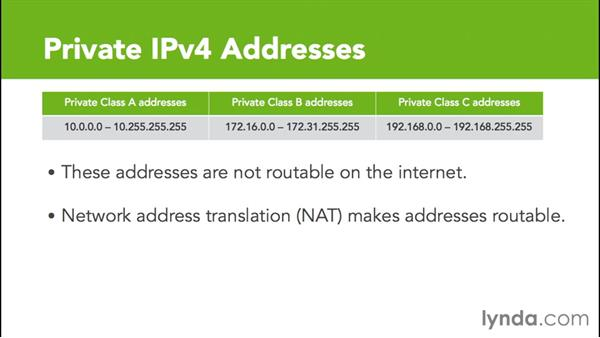 Private IP addresses: Cisco Certified Entry Networking Technician Essential Training