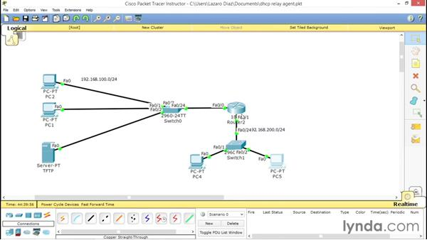 Using the helper address as a DHCP relay agent: Cisco Certified Entry Networking Technician Essential Training
