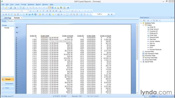 Showing field types: Crystal Reports 2013: Experts and Customizing Reports