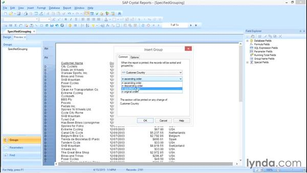 Understanding specified grouping: Crystal Reports 2013: Experts and Customizing Reports
