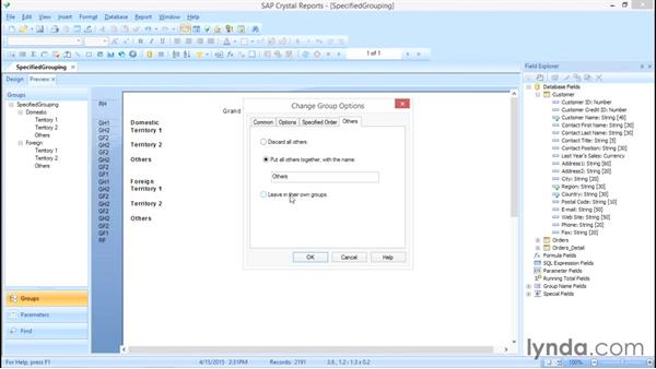 "What to do with the ""Others"" group: Crystal Reports 2013: Experts and Customizing Reports"