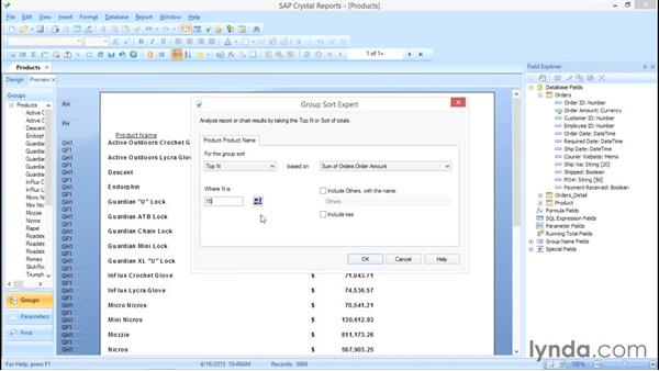 What are Top N and Bottom N groups?: Crystal Reports 2013: Experts and Customizing Reports