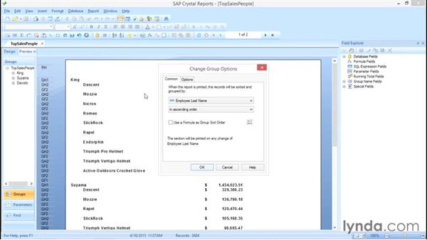 Repeating group headers on each page: Crystal Reports 2013: Experts and Customizing Reports