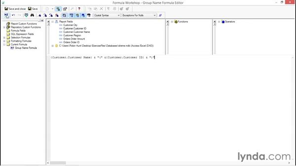 Grouping and showing formulas for the display: Crystal Reports 2013: Experts and Customizing Reports