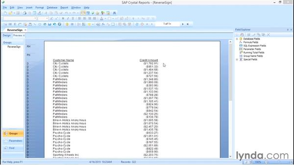 Reverse numbers signs for financial reports: Crystal Reports 2013: Experts and Customizing Reports