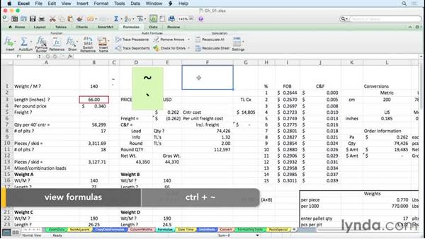 Displaying all worksheet formulas instantly: Excel for Mac 2011 Tips and Tricks