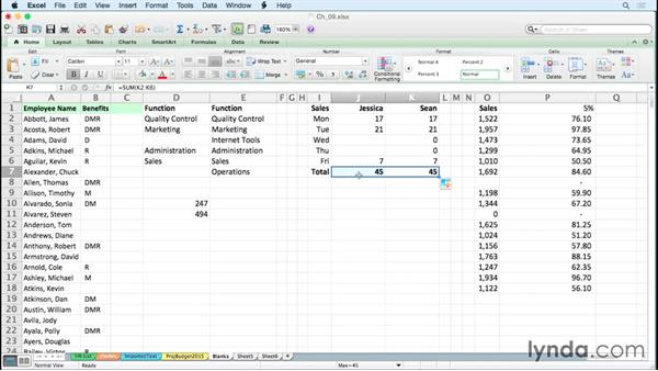 Selecting and manipulating blank cells: Excel for Mac 2011 Tips and Tricks