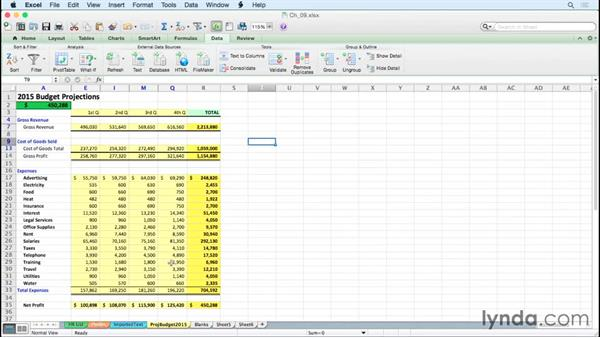 Collapsing and expanding detail quickly with outlining shortcuts: Excel for Mac 2011 Tips and Tricks