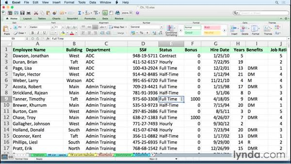 Removing spaces quickly to clean up data: Excel for Mac 2011 Tips and Tricks