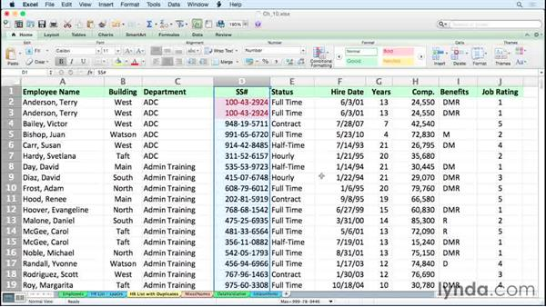 Identifying and eliminating duplicates: Excel for Mac 2011 Tips and Tricks
