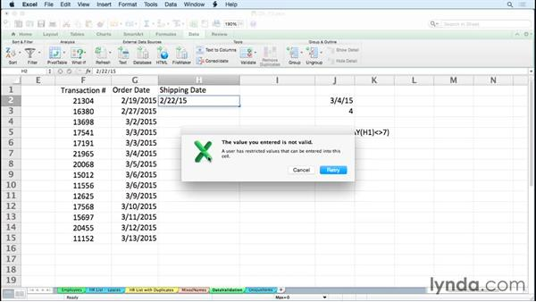 Forcing typed dates to be weekdays only with data validation rules: Excel for Mac 2011 Tips and Tricks