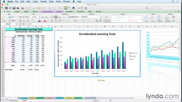 Manipulating chart placement with dragging techniques: Excel for Mac 2011 Tips and Tricks