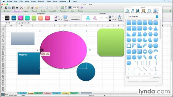 Creating and manipulating shapes: Excel for Mac 2011 Tips and Tricks